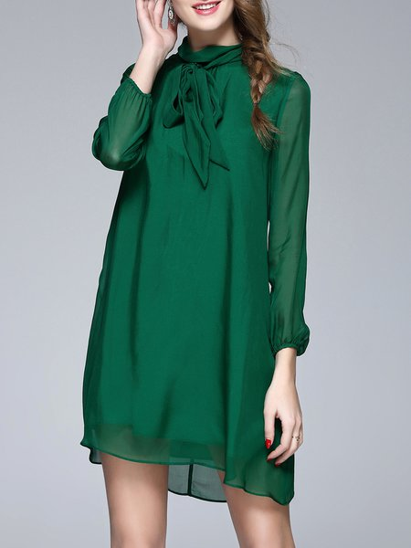 Green Silk Stand Collar Solid Casual Mini Dress