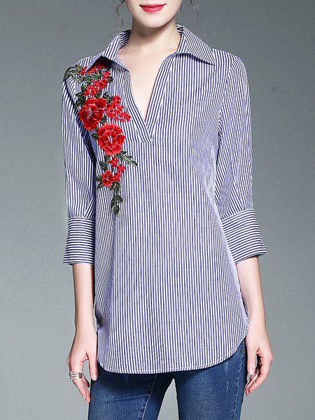 Blue Embroidered High Low Casual Checkered/Plaid Cotton Blouse