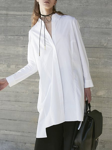 White Shirt Collar High Low Simple Cotton Tunic
