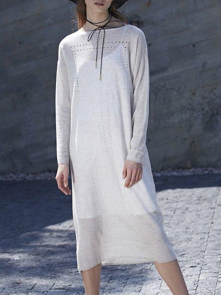 White Pierced A-line Cotton-blend Long Sleeve Midi Dress