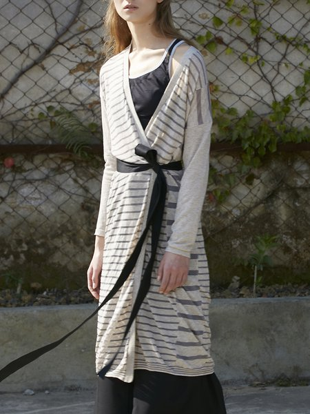 Beige V Neck Stripes H-line Long Sleeve Cardigan