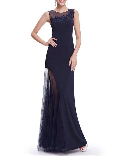 Dark Blue Elegant Mermaid Paneled Mesh Evening Dress