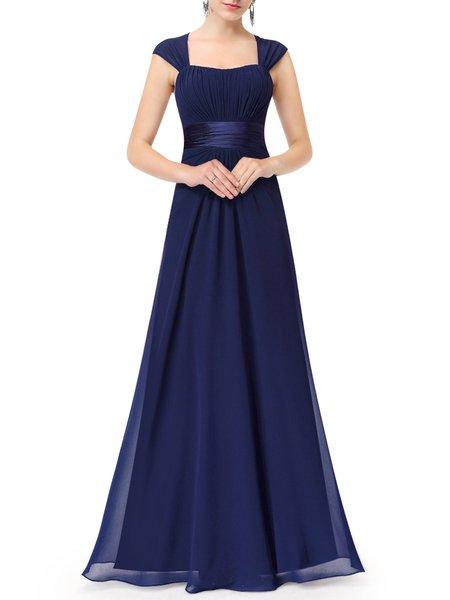 Dark Blue Sleeveless Swing Square Neck Evening Dress