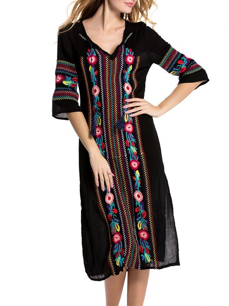Black Floral Boho Embroidered Holiday Dress