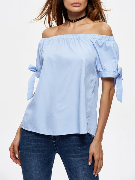Blue Bow Off Shoulder Stripes Short Sleeve Blouse