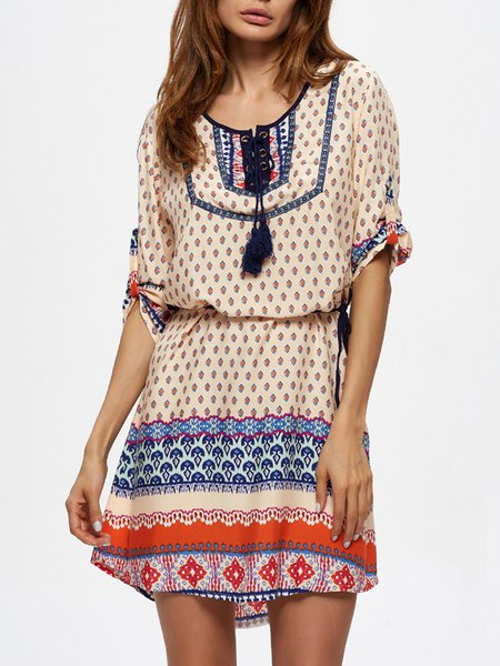 Multicolor Crew Neck Lace Up Printed Boho Midi Dress