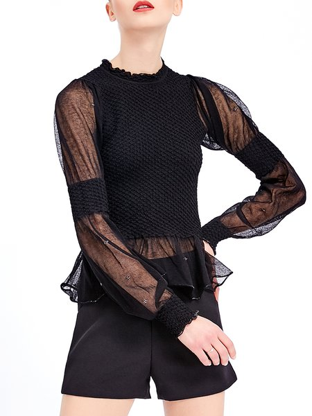 Black Ruffled Crew Neck Casual Cotton-blend Long Sleeved Top