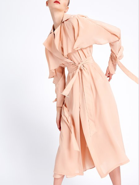 Long Sleeve Silk Ruffled Elegant Trench Coat with Belt