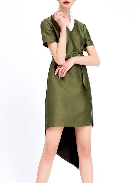 Green Short Sleeve Asymmetrical Wrap Dress with Belt