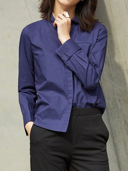 Cotton Shirt Collar Long Sleeve H-line Blouse