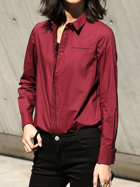 Burgundy Long Sleeve Shirt Collar Cotton H-line Blouse