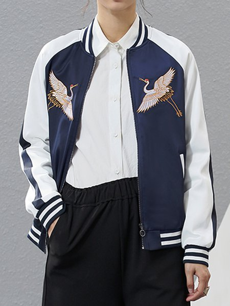 Embroidered Long Sleeve Casual Animal Bomber Jacket