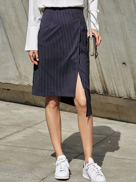 Navy Blue Casual Slit Asymmetrical Midi Skirt