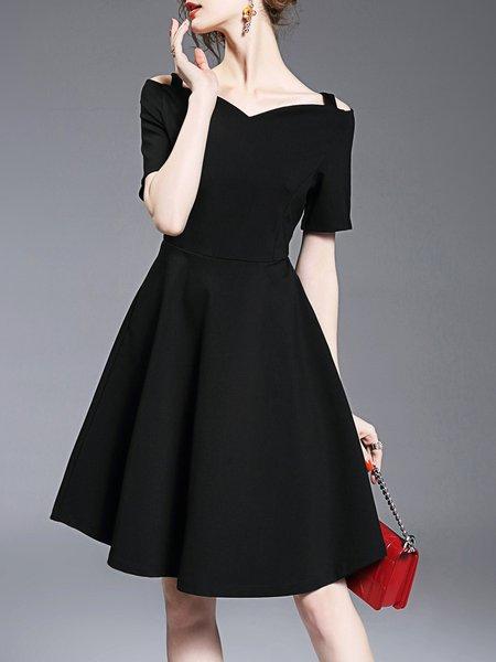 Elegant Short Sleeve Solid A-line Paneled Midi Dress