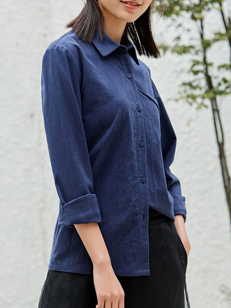Cotton Simple Long Sleeve Buttoned Shirt Collar Blouse