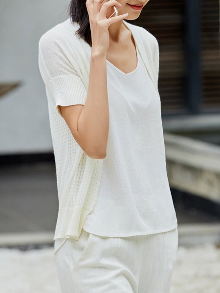 Solid Short Sleeve Casual Cotton Cardigan
