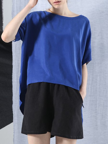 Blue Shorts Sleeve Slash Neck T-Shirt