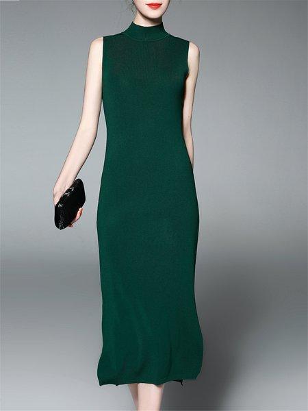 Slit Simple Knitted Turtleneck Midi Dress