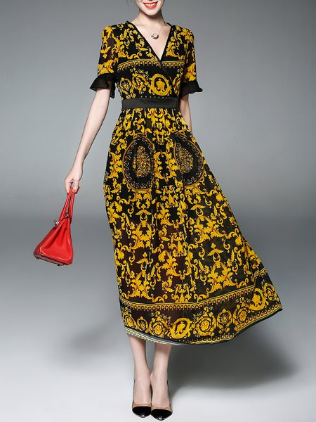 Printed Vintage V-Neck Midi Dress