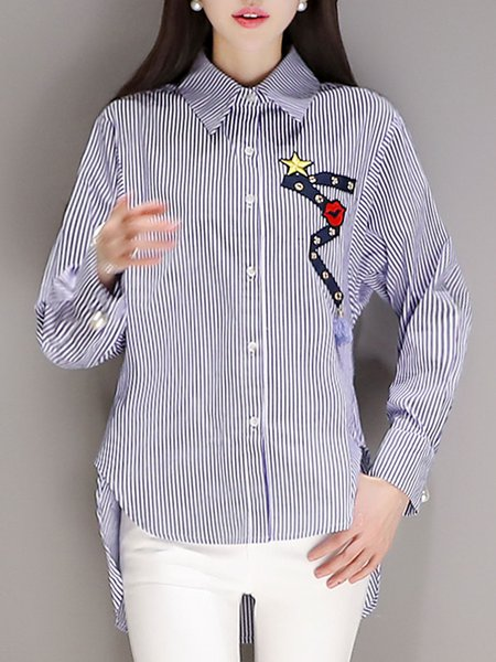 Casual Shirt Collar Cotton Long Sleeve Long Sleeved Top
