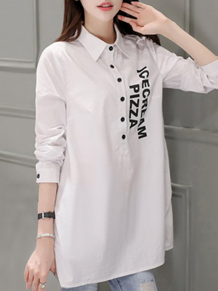 Cotton-blend Letter Simple Printed Tunic