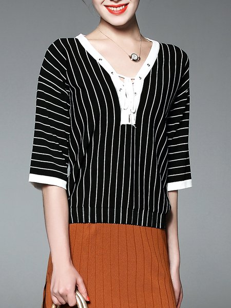 Black Stripes Half Sleeve V Neck Short Sleeved Top