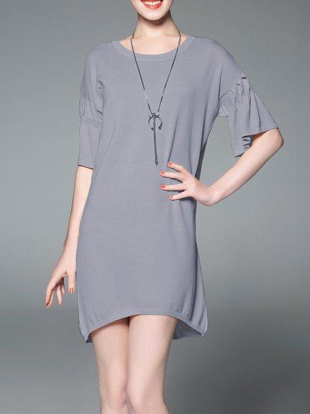 Shift Simple Half Sleeve Mini Dress