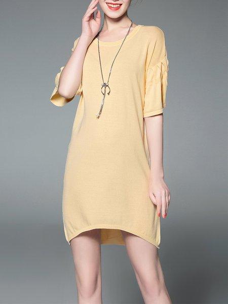 Asymmetric Shift Crew Neck Simple Mini Dress
