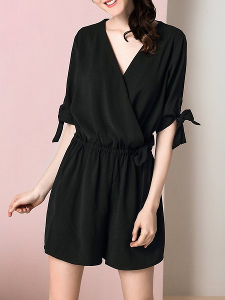Black Bow Simple Solid Shirt Dress