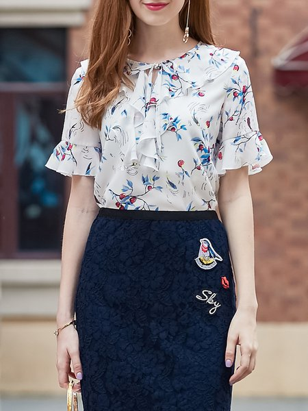 White Girly Chiffon Floral Short Sleeved Top