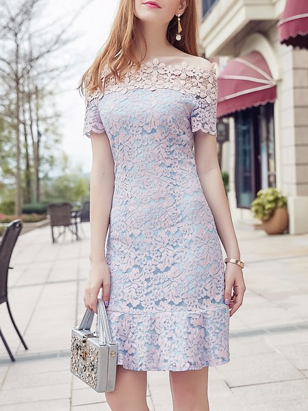 Purple Guipure Lace Elegant Midi Dress
