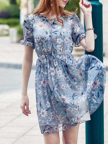 Aqua Blue Chiffon Elegant V Neck Midi Dress