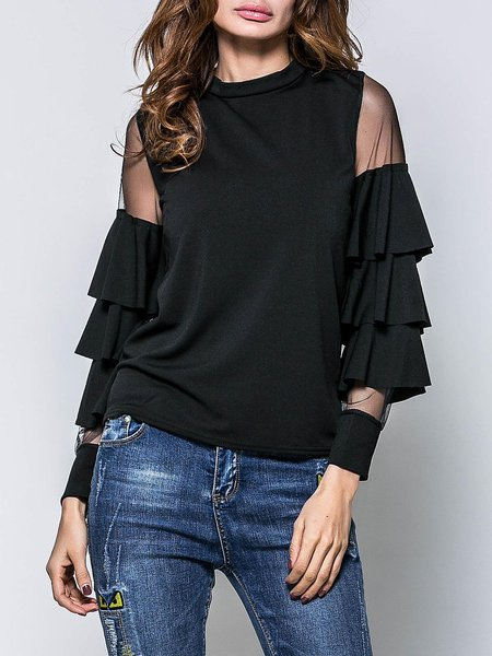 Black Tiered Frill Sleeve Stand Collar Tops