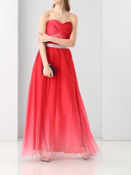 Red Sleeveless A-line Beaded Evening Dress