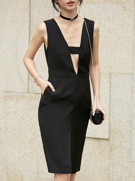 Black V Neck Elegant A-line Midi Dress
