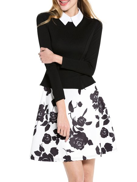Black-white Long Sleeve Paneled Floral Midi Dress