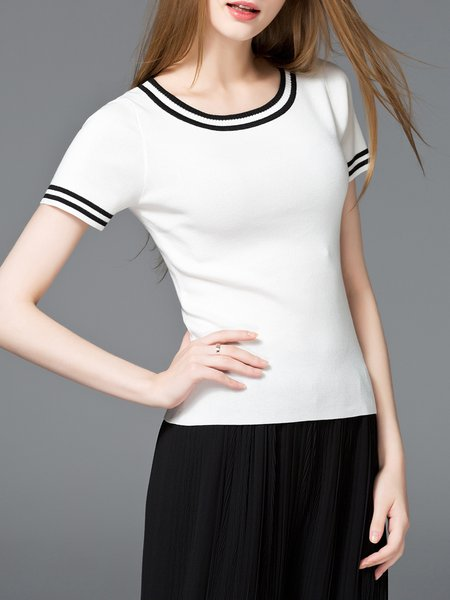 Casual Short Sleeve Color-block Sweater