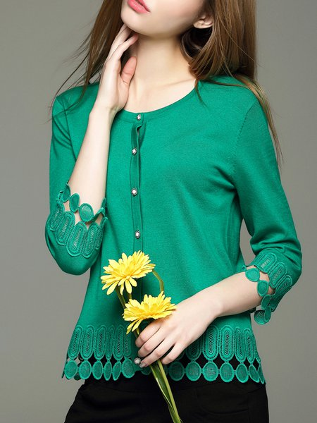 Green Casual Nylon Cardigan