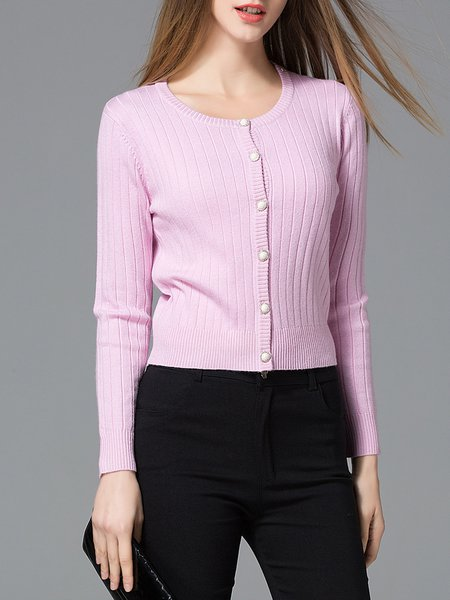 Deep Pink Casual Solid Knitted Cardigan