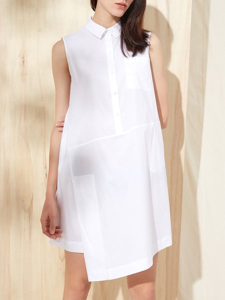 Simple Shirt Collar Shirt Dress