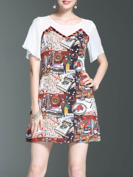 Casual Printed A-line Frill Sleeve Abstract Mini Dress