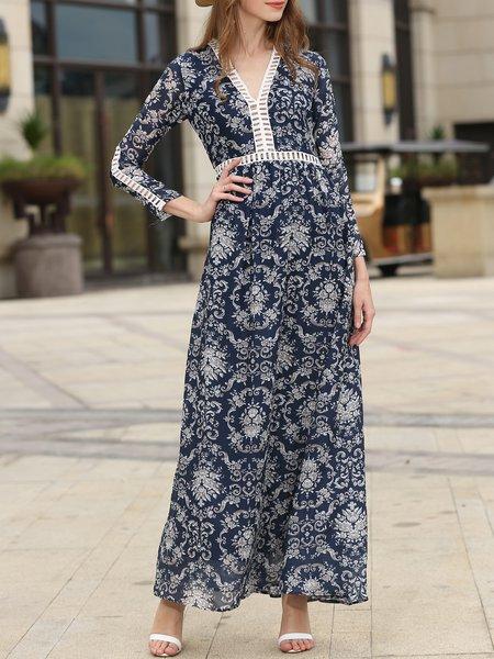 Printed V Neck Casual A-line Boho Dress