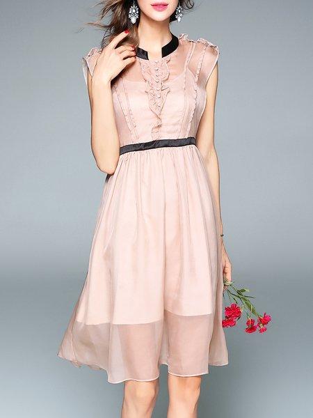 Pink  Shirt Collar Sleeveless Midi Dress