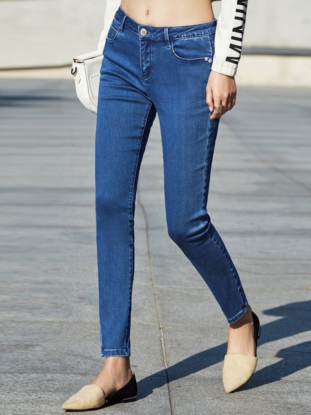 Blue Casual Cotton-blend Jean