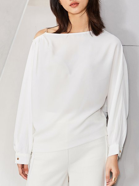 Cold Shoulder Solid Cutout Simple Long Sleeved Top