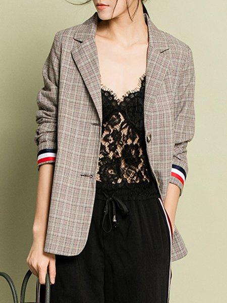 Khaki Checkered/Plaid Cotton-blend 3/4 Sleeve Blazer