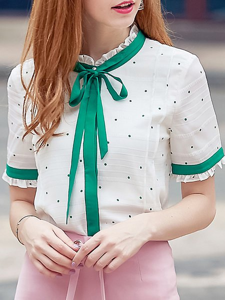 White Floral Guipure Lace Short Sleeve Blouse