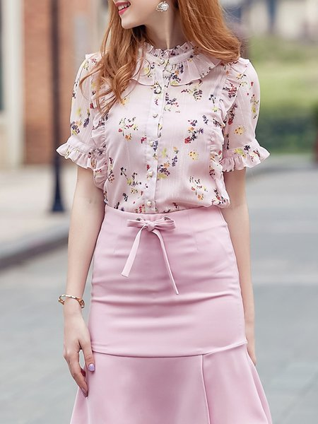 Elegant Short Sleeve Two Piece Blouse