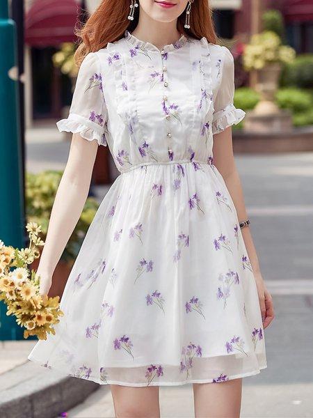 Casual Chiffon Frill Sleeve Floral Midi Dress