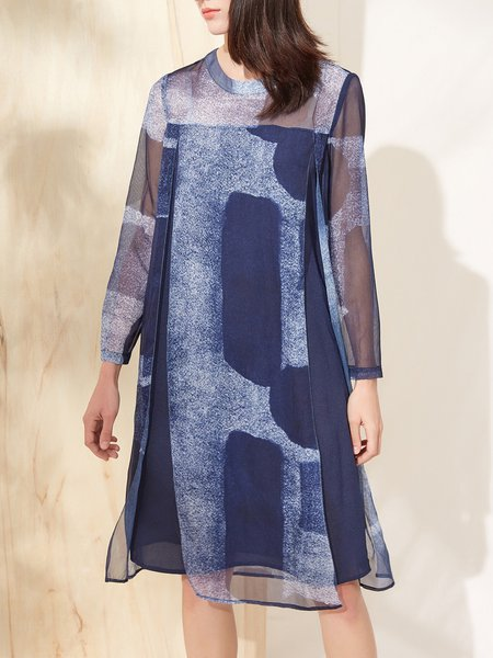 Navy Blue Printed Slit Ombre/Tie-Dye Casual Chiffon Dress